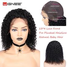 Wignee 13x4 Lace Front Remy Brazilian Human Wigs With Baby Hair for Black/White Women Pre Plucked Hairline Afro Curly Wig