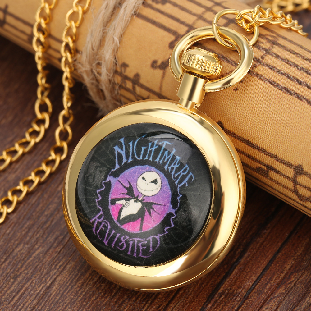 Funny Christmas Eve Scare Theme Pocket Watch Graceful Yellow Dial With Roman Numerals Pocket Watches Necklace Pendant Clock 2019