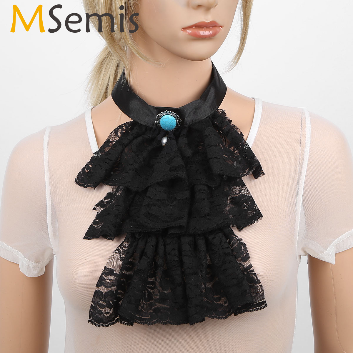 MSemis Men Women Victorian Lace Jabot Detachabl Steampunk Neck Wear Collar Stage Party Colonial Pirate Vampire Costume Accessory