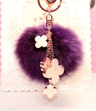 цена на Cute Luxury 10cm Soft Fluffy Pom Pom Real Fox Fur Keychain Pompom Fur Ball Car Key Chain Backpack Pendant Women Bag Charm