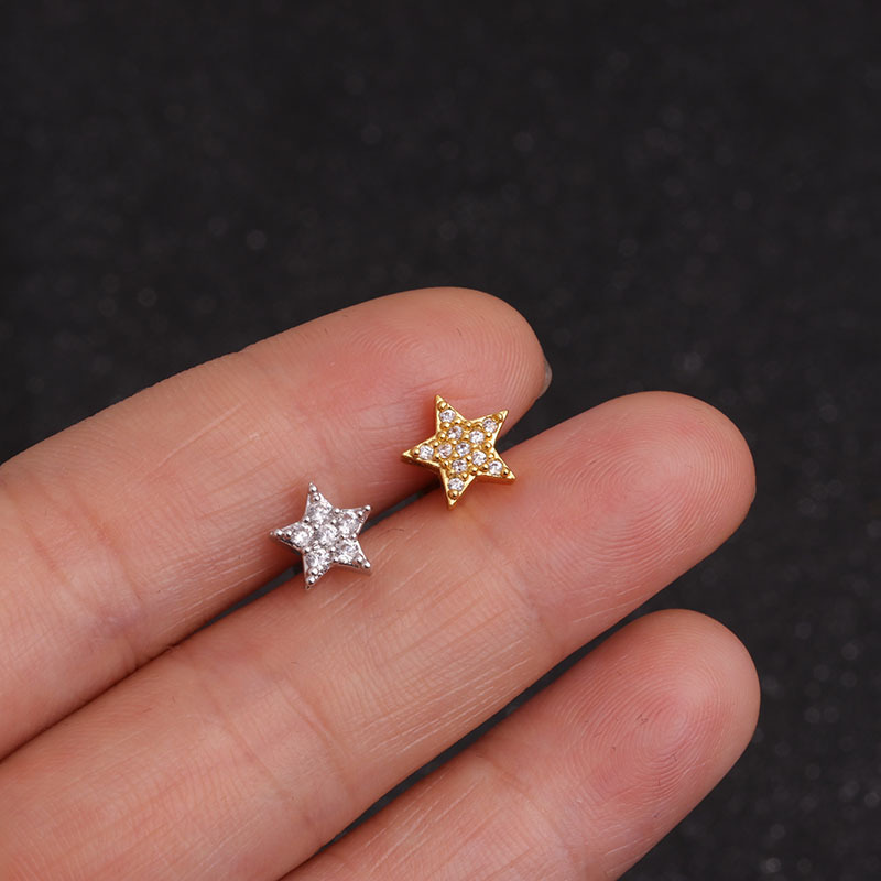 1 Piece Gold And silver Color Cross Moon Star Heart Flower CZ Tragus Cartilage Stainless Steel Ear Stud Piercing Earring