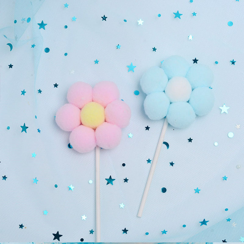 1pc Pink Blue Soft Pompom Cloud Cake Topper Baby Shower Birthday DIY Cake Top Flags Decoration Festival Party Supplies