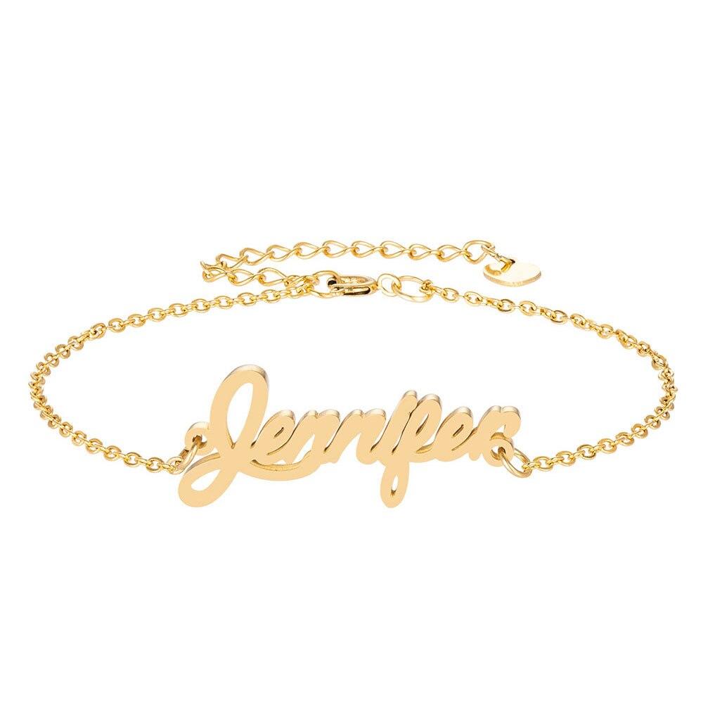 Дженнифер имя браслет для женщин, ювелирные изделия для девушек, из нержавеющей стали с золотым покрытием кулон-табличка с именем Femme Mother, по...
