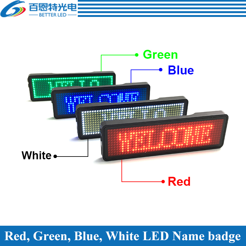 44x11/ 48x12 Dots Small LED Display, LED Name Badges, Multi-program And Support Multiple Languages