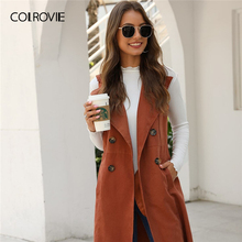COLROVIE Solid Double-breasted Waterfall Collar Top Women Brown Midi Coat 2019 New Fall Casual Sleev