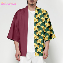 Cospaly Anime Demon Slayer Harajuku japońska moda Kimono 2020 mężczyźni i kobiety sweter bluzka Haori Obi azjatyckie ubrania samuraj tanie tanio WOMEN Poliester Trzy czwarte