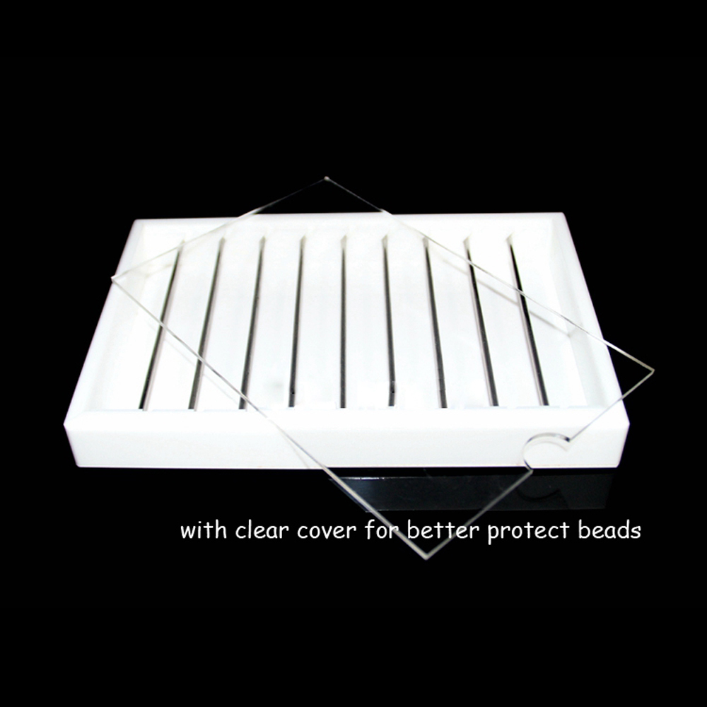 White Acrylic Jewelry Charm Beads Display Organizer Case Tray Metal Tube Beads Storage Box DIY Bracelet Pendant Holder