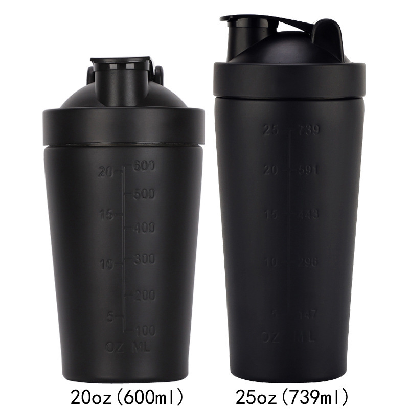 2020 New 25oz single layer 304 stainless steel shake cup fitness protein powder mixing shaker non
