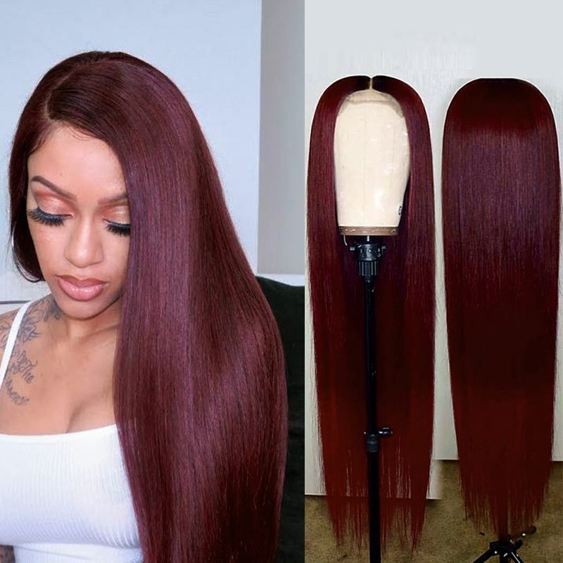 99J Red Brazilian Pre Plucked 13x4 Lace Front Human Hair Wigs Straight Lace Wigs 150% Density Remy Hair Wig KEMY HAIR