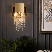 Modern crystal wall lamp for bedroom bedside gold LED sconces light fixtures living room decor TV wall lighting