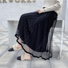 Mooirue Pleuche Long Skirts Women Autumn Winter Loose Vintage Solid Pleated Skirt High Waist Mesh Patchwork Koren Style