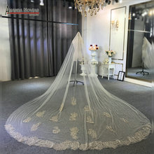 Luxury beading wedding veil champagne color bridal veil