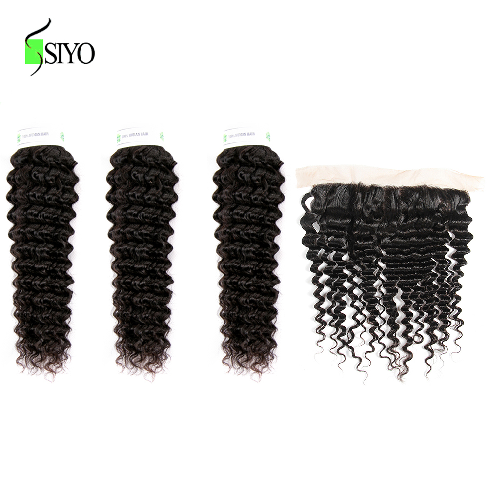 """Hadc89e511e5d449cbe28022f143b978bH Siyo Deep Wave 3 Bundles with Frontal 8-26"""" M Remy Human Hair with 13x4 Lace Frontal Malaysian Hair Bundles with Closure"""