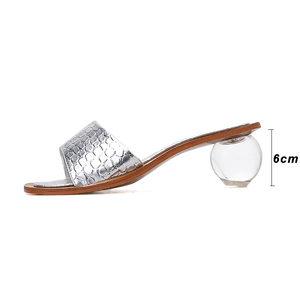Image 4 - Pzilae 2020 Vrouwen Zomer Slippers Kristal Geometrische Hak Zwart Zilver Sandalen Vierkante Neus Bal Hak Slide Sandalias Mujer