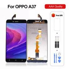 מקורי 5.0 אינץ עבור Oppo A37 מגע LCD תצוגת מסך Digitizer עצרת נייד אביזרי שחור לבן שחור עם מתנות