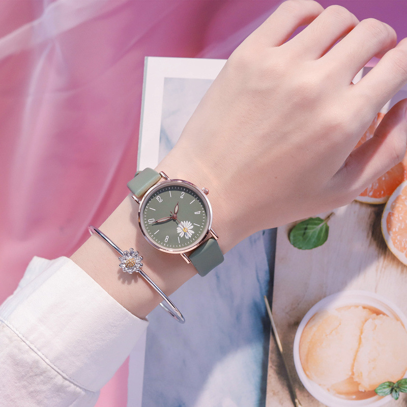Hot Children% 27s Наручные часы Хризантема для Kids Girl Student ulzzang Watch Girls Kids Watches Leather Strap SimpleDial Clock