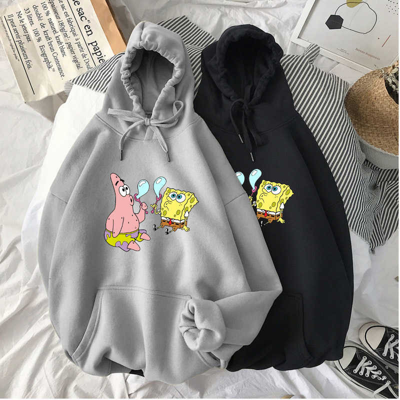 Nieuwe Mode Womens Cartoons Squarepants Afdrukken Hoodies Sweatshirts Unisex Cool Hooded Streetwear Hoody