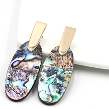 New Arrival Big Oval Abalone Shell Figure Stud Resin Long Oval One side Abalone Stud For Women  Earrings Fashion Jewelry