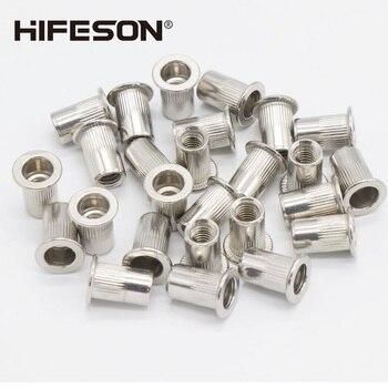50 pcs/lot Stainless Steel Rivets Nuts Insert Flat Head Threaded Nut sert Cap for Riveter Riveting Nut Gun Tools Rustproof