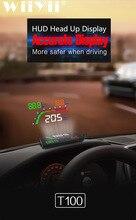 4 インチT100 hudヘッドアップディスプレイ車スピードメーターデジタル速度超過警告システムOBD2 反射フロントガラスプロジェクター