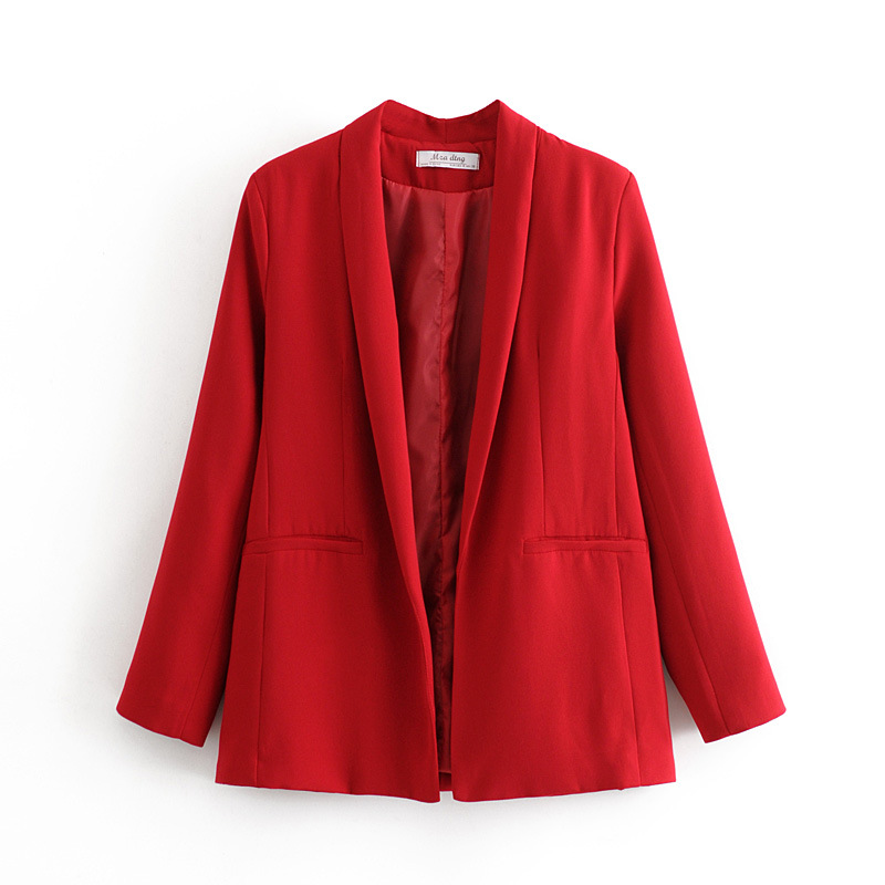 Casual Mid-length Women's Blazer 2020 New Spring Casual Loose Red Ladies Small Suit Small Buttonless Suit Female Jacket
