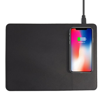 Mobile Phone Qi Wireless Charger Charging Mouse Pad Mat PU Leather Mousepad for iPhone X / 8 Plus Samsung s8 Plus / Note 8