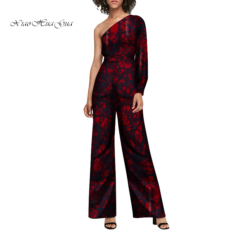 African Style Women Jumpsuit Private Custom One Shoulder Sleeve Long Wide Leg Jumpsuit African Print Plus Size Pompers WY6692