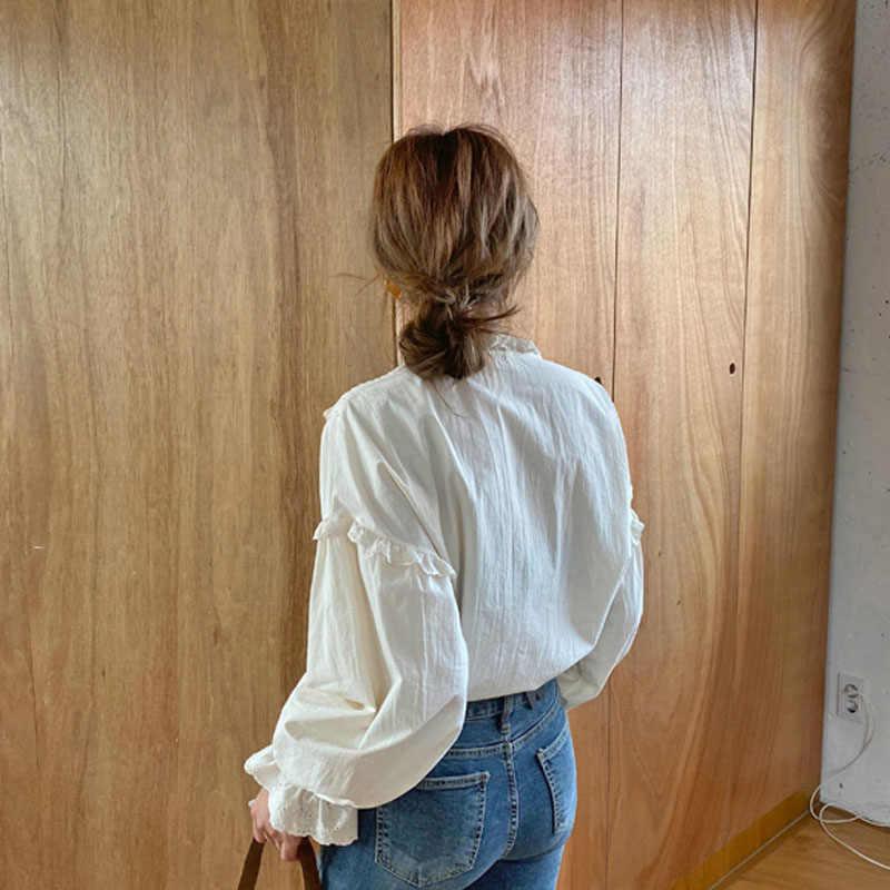 2020 새로운 여성 중공 빈티지 캐주얼 우아한 탑 여성 셔츠 단색 긴 소매 한국 스타일 활 느슨한 블라우스 Blusas 9580