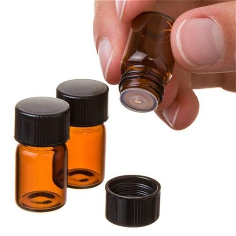 Frasco de óleo essencial de pvc âmbar, frasco de vidro fino de 1/2/3 ml, óleo perfumado pequeno, teste de amostra, 10 peças garrafa com redutor orifício