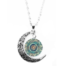 2019 Vintage Glass Circular Round Chakra Pendant Month Necklace Indian Yoga Mandala