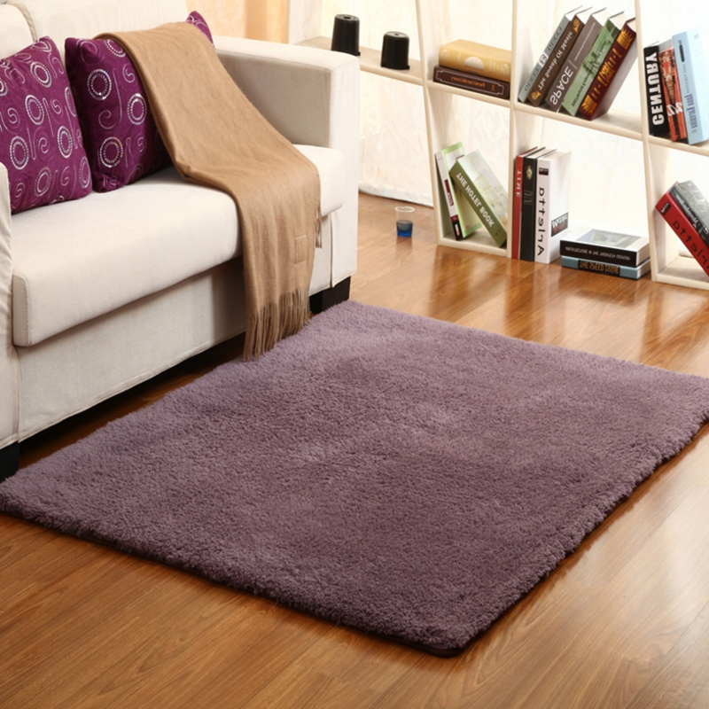 2020 Thicken Lambswool Living Room Bedroom Carpet Bedside Area Carpet Stair Non-slip Mat Washable Kid's Crawling Mat Gray Purple