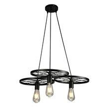Lámpara colgante Industrial de 3 cabezas, accesorio de iluminación Retro y rústico de rueda para sala de estar, comedor, dormitorio, cocina o Bar