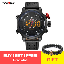 WEIDE Men Casual Fashion Quartz LED Display Top Brand Luxury Genuine Leather Strap Military Army Watch Wrist Clock Bracelet все цены