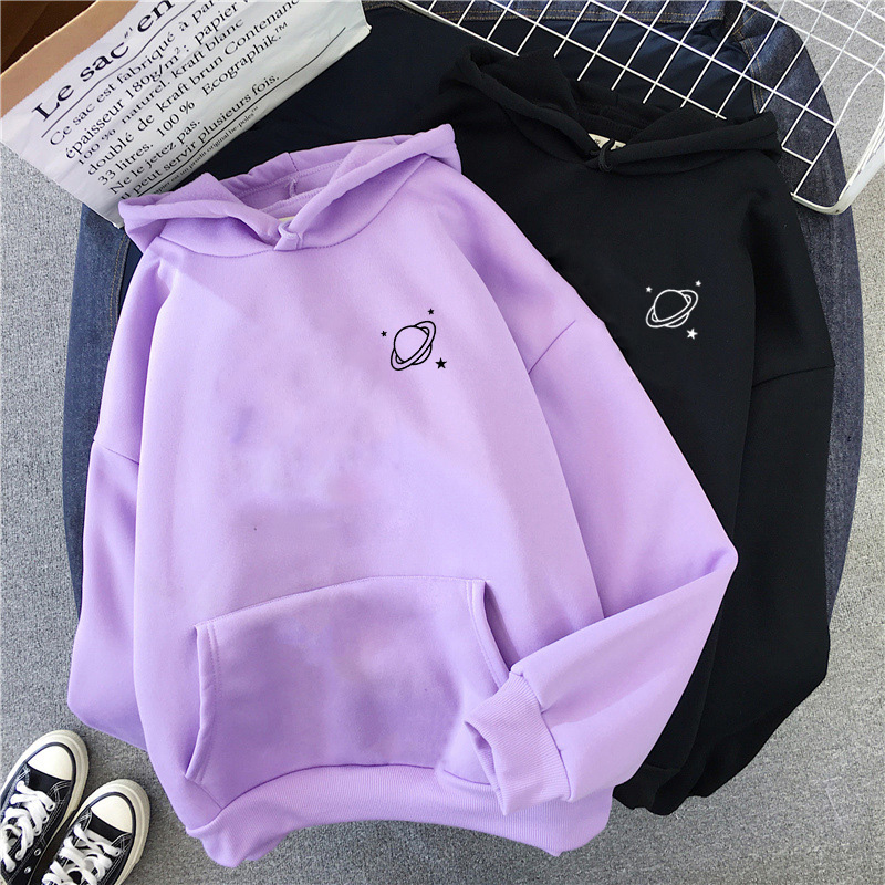 The New 8 Colors Sweatshirts velvet winter Women's cute Saturn printing Hooded Female 2020 Thicken Warm Hoodies Lady Autumn Tops