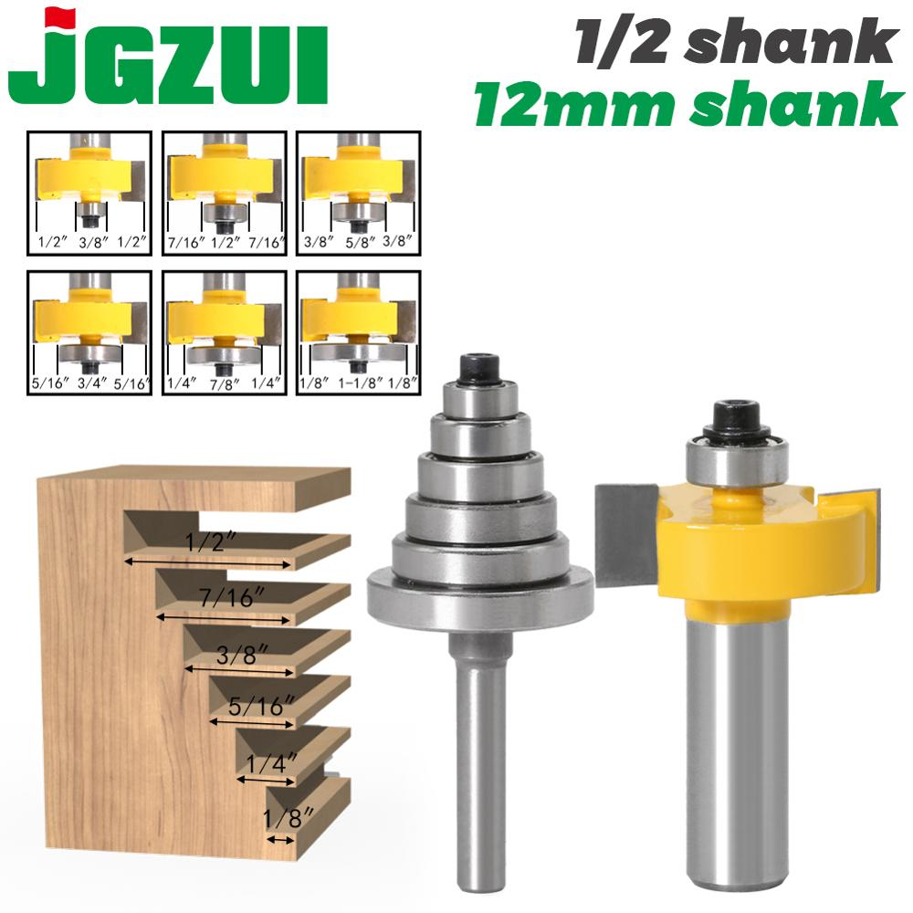 Rabbet Router Bit With 6 Bearings Set - 1/2