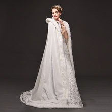 Top Kwaliteit Winter Wedding Lange Mantel Fur Hooded Capes Met Faux Bont Rand Hooded Bridal Wedding Mantel Witte Bruid Poncho wraps(China)