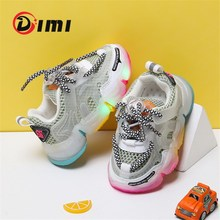 DIMI 2020 New Baby Light Up Shoes High Quality Baby Girl Toddler Shoes Breathable Mesh Colorful Bottom Kid Sneakers for Girl