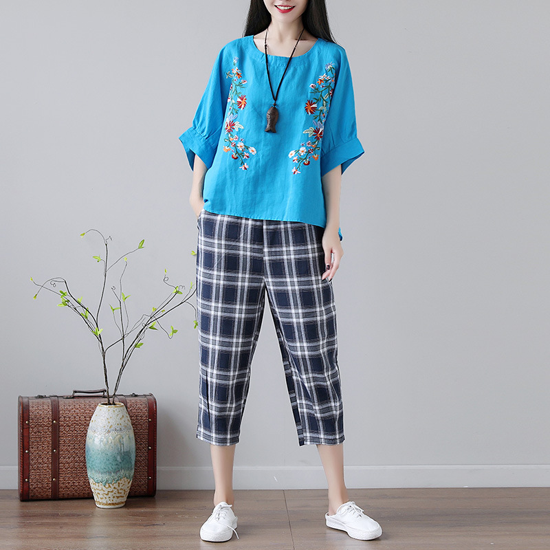 2019 Summer New Style Large Size Loose Cotton Linen Shirt Loose Tops With Capri Plaid Cotton Linen Pants WOMEN'S Suit
