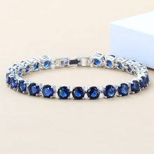 Eye-Catching Blue Zircon 925 Sterling Silver Jewelry Overlay Chain Link Bracelet For Women Free Gift Box SL39(China)