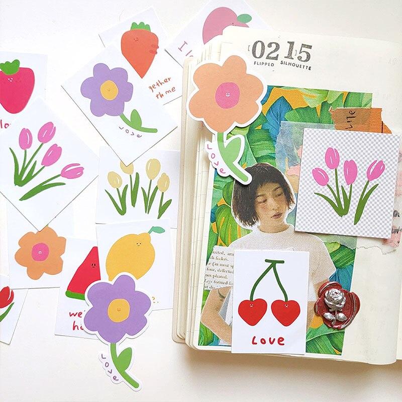15pcs / Bag New Cute Flower Sticker DIY Scrapbooking Journal Week Album Mobile Phone Diary Happy Plan Decoration Sticker