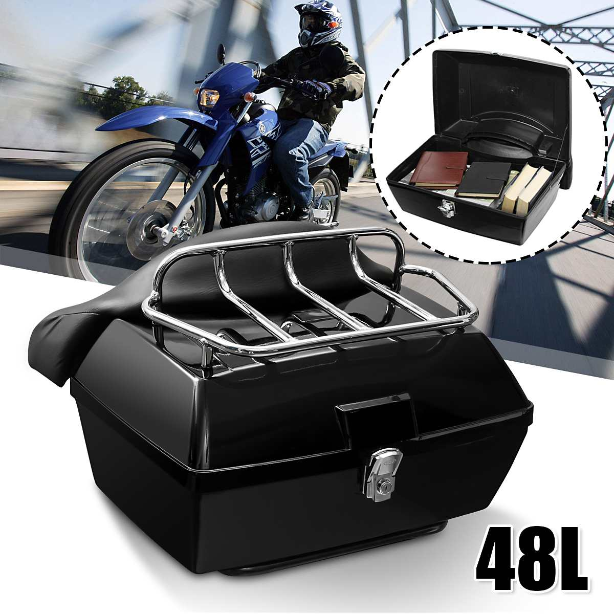 48L Universal Motorcycle Rear Tail Storage Box Luggage Trunk Case Toolbox Scooter Motorbike For Halley Honda Suzuki Yamaha BMW