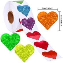500 pces/rolo amor em forma de coração etiqueta scrapbooking presente embalagem selo aniversário festa de casamento fornecimento papelaria adesivo