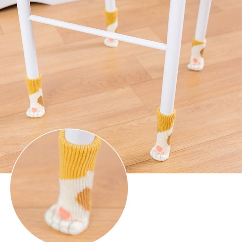 4Pcs Anti-slip Chair Foot Pad Knitted Cat Paw Furniture Feet Protective Cover Cartoon Table Leg Mat
