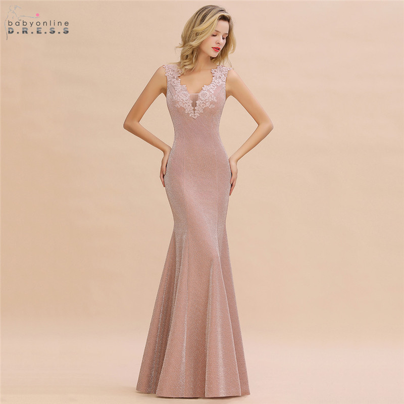 Elegant Dusty Rose Mermaid Lace Evening Dress 2020 Sexy V Back Bright Silk Evening Prom Gowns Robe De Soiree Longue