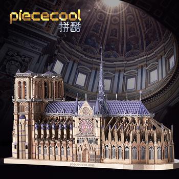 Piececool 3D Puzzle metalowe P161-BS Notre Dame de Paris laserowego DIY montażu Model układanki zestawy Puzzle dla prezent dla dorosłych dla dzieci tanie i dobre opinie CN (pochodzenie) Unisex 12-15 lat STARSZE DZIECI Budowa