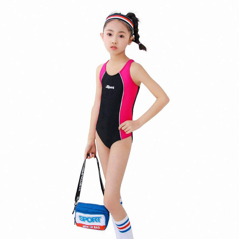 2019 New Style Profession One-piece Triangular Panels Pressure Teeth Athletic Training Middle And Large CHILDREN'S Swimwear Wome