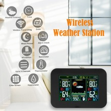 цена на Weather Wireless Station with Indoor Outdoor Wireless Sensor Color Display Alarm Clock With Temperature Alerts Forecasting