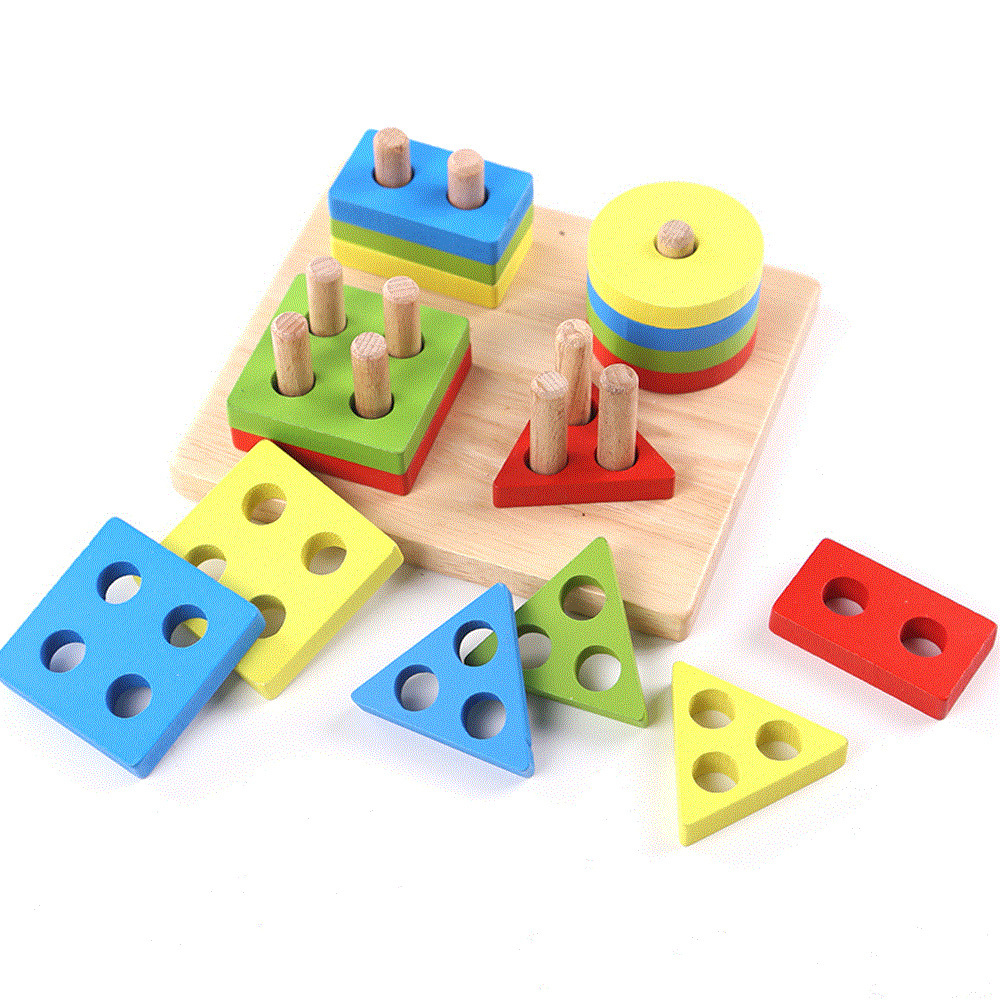 Learning Wooden Pole Geometry Shape Intelligence Math Educational Toys