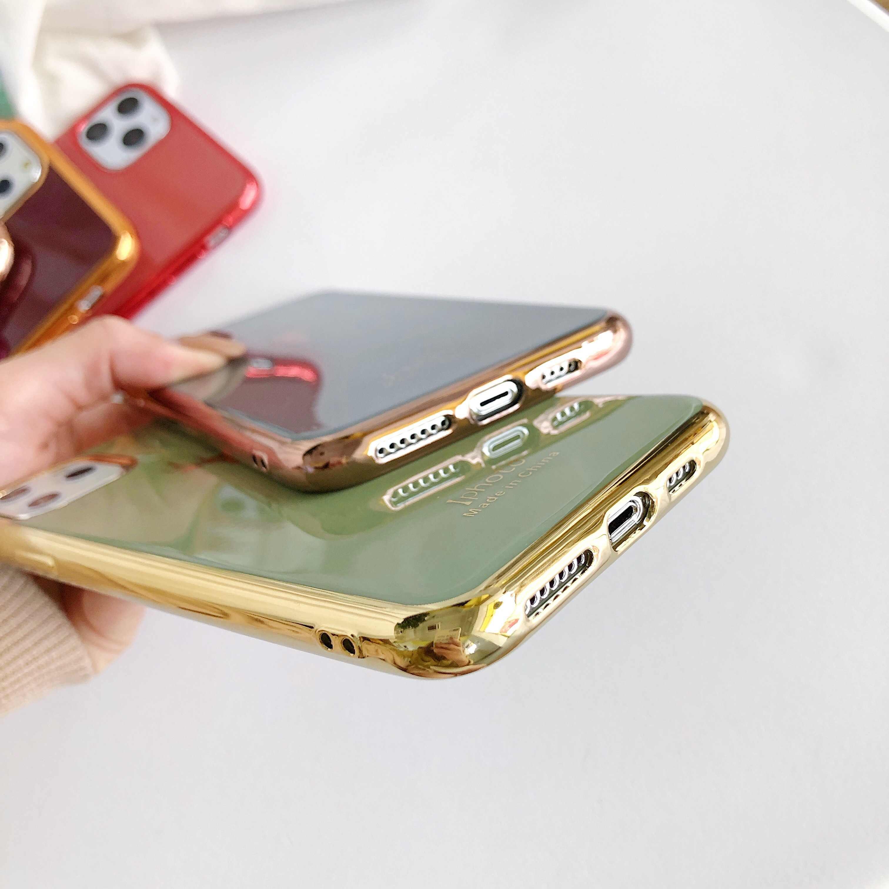 Lüks kaplama TPU yumuşak telefon iPhone için kılıf 11 pro Max geyik kafa koruyucu kapak iPhone 6 6S 7 8 artı X XR XS MAX kılıfları