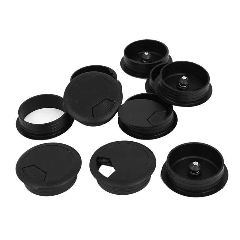 10 Pcs Round Plastic Computer Desk Cable Grommet Hole Cover 50mm Black